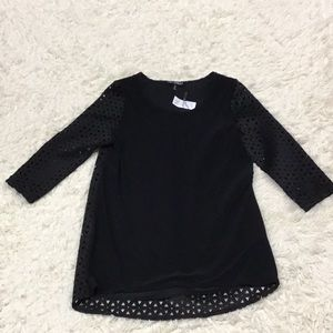 Picadilly Black cutout Lace sleeve blouse